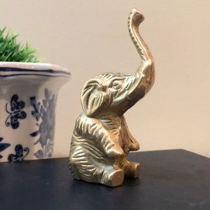 Vintage Brass Sitting Baby Elephant Boho